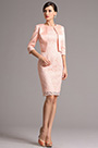 Pink Mid Sleeves Knee Length Two Pieces Cocktail Dress (26161501)