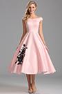 Off Shoulder Pink Tea Length Cocktail Dress (X04161101)