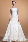 Chic Strapless Lace Beaded Bodice Wedding Dress (C37145507)