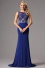 Vestido de Noche Azul Bordado con Piedritas Lujoso (02160505)