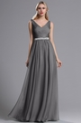 eDressit Grey Straps Plunging V Neck Ruched Bridesmaid Dress (07160508)
