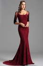 Half Lace Sleeves Bateau Neck Lace Formal Dress (X26151617-3)