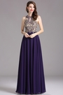 Carlyna Purple Sleeveless Beaded Prom Evening Gown (E62506)