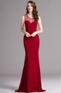 Carlyna Burgundy Sweetheart Sleeveless Beaded Evening Mermaid Dress (E60417)