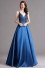 Carlyna Blue Beaded Plunging V Neck Floor Length Formal Evening Dress (E60005)