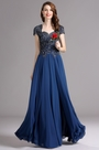 Carlyna Blue Cap Sleeves Beaded Prom Dress Formal gown (E61305)