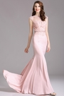 Carlyna Pink Lace Beaded Mermaid Prom Dress (E62601)