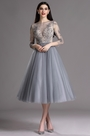 eDressit Grey Tea Length Party Cocktail Dress with Embroidery (04162208)
