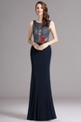 Carlyna Dark blue Sleeveless Prom Dress with Beaded Bodice (E62905)