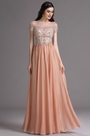 eDressit Tangerine Short Sleeves Embroidery Beaded Prom Dress (02164910)