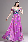 eDressit Fuchsia Off Shoulder Pleated Summer Printed Dress (X07151712)