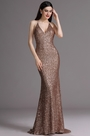 eDressit Spaghetti Halter Plunging Neck Coffee Sequins Formal Dress (00165420)