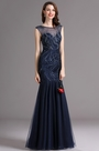 Carlyna Blue Sweetheart Beaded Sleeveless Formal Prom Dress (E60505)