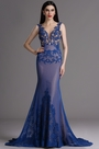 eDressit Blue Plunging Evening Dress with Lace Appliques (02165705)