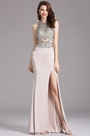 Carlyna Silver Sleeveless Beaded Prom Dress with Slit Skirt (E62426)