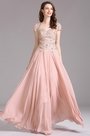 Carlyna Blush Short Sleeves Beaded Evening Dress Formal Gown (E61346)