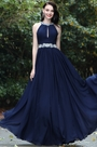 eDressit Elegant Halter Blue Beaded Prom Dress (00171105)