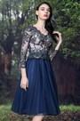 eDressit Blue Scallop Neckline Lace Cocktail Party Dress (04171005)
