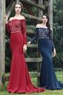 eDressit Long Sleeves Burgundy Overlace Evening Dress (26170517)