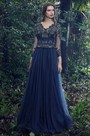 eDressit Blue Scallop Neckline Lace Prom Evening Dress (26170405)
