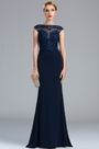 eDressit Cap Sleeves Navy Blue Lace Appliques Formal Dress (00173805)