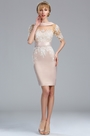 eDressit Half Sleeves Beige Lace Appliques Mother of the Bride Dress (26173114)