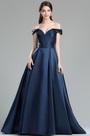 eDressit Dark Blue Off the Shoulder V Cut Puffy Prom Dress (36174205)