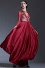 eDressit Long Sleeves Burgundy Formal Evening Gown (26181102)