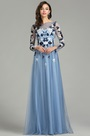 eDressit Blue Long Sleeve Floral Lace Evening Gown (26180505)