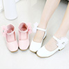 Children Girl Closed Toe Leather Flower Shoes (250057)
