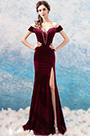 eDressit Burgundy V-Cut OFF Shoulder Velvet Slit Party Evening Dress (36200417)
