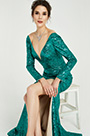 eDressit Green Sequins Long Sleeves Slit Ball Gown Dress (02190204)