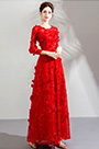 eDressit Red Long Sleeves Lace Party Prom Evening Dress  (36209402)