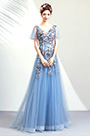 eDressit Blue Sexy V-Cut Embroidery Party Ball Prom Dress (36202432)