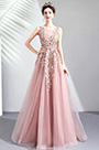 eDressit Pink Embroidery Tulle Long Party Prom Dress (36191146)