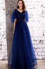 eDressit Sexy Blue V-Cut Sequins Tulle Party Prom Gown (36220605)