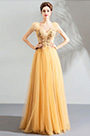 eDressit Sexy V-Cut Cap Sleeves Tulle Party Evening Dress (36211810)