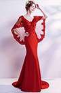 eDressit Red Embroidery Cape V-Cut Party Evening Dress (36204002)