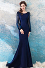 eDressit Navy Blue Sleeves Evening Dress Formal Gown (36200605)