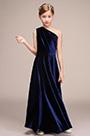 eDressit Blue Velvet One Shoulder Princess Flower Girl Dress(27193105)