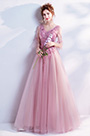 eDressit Pink V-Cut Embroidery Tulle Party Evening Gown(36195146)