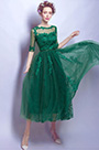 eDressit Green Lace Appliques Short Sleeves Party Prom Dress(35195604)