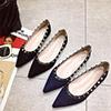 Classic Suede Rockstud Ballet Flat Shoes (0919071)