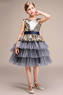 Sequin Top Grey Layered Skirt Girl Wedding Party Mini Dress(28191508)
