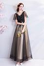 eDressit Black V-Cut Sleeves Band Prom Party Dress (36191400)