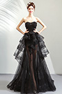 eDressit Black Corset Beaded Tulle Ruffle Party Prom Dress (36192800)