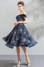 eDressit Blue Off Shoulder Sparkle Sleeves Short Party Dress (35193405)