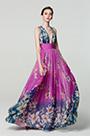 eDressit Purple V-Cut Strap Print Floral Ball Party Dress (00183168K)