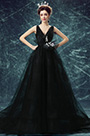 eDressit Black Deep V-Cut Long Tulle Party Ball Gown (36192300)