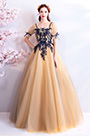 eDressit Beige Sleeves Tulle Long Party Ball Evening Dress (36198724)